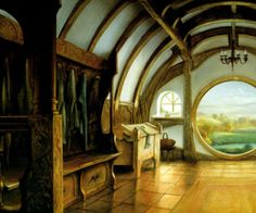 """""""The door opened on a tube-shaped hall like a tunnel: a very comfortable tunnel without smoke, with panelled walls, and floors tiled and carpeted, provided with polished chairs, and lots and lots of pegs for hats and coats--the hobbit was fond of visitors."""""""