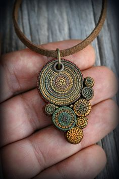 Bohemian polymer clay pendant Statement necklace by PeaceElements