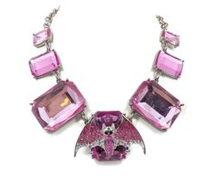 Bat Necklace  Vintage Hot Pink Bat Bling Chunky by InVintageHeaven, $38.00