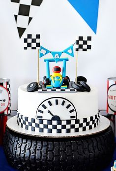 Race car birthday cake from a Race Car Birthday Party on Kara's Party Ideas | KarasPartyIdeas.com (43)