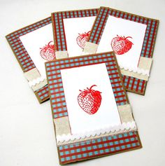 Strawberry Card Set  Set of 4  Kraft Cards  by PrettyByrdDesigns