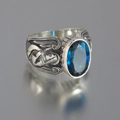 GUARDIAN ANGELS Mens silver ring with London Blue by WingedLion, $385.00