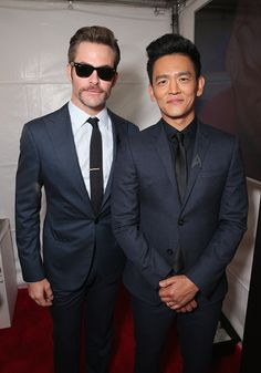 Actors Chris Pine and John Cho attend the premiere of Paramount Pictures' 'Star Trek Beyond' at Embarcadero Marina Park South on July 20 2016 in San...