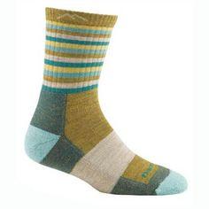 Darn Tough Women's Patterned Micro Crew Sock - Naughty Gold Stripe