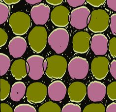 Green and pink spots - drawn and digital pattern - Sarah Bagshaw