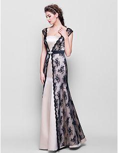 Sheath/Column Straps Floor-length Lace And Satin Bridesmaid Dress (2174371) – USD $ 139.99