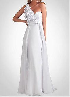 [131.44] Glamorous Chiffon A-line One Shoulder Long White Prom Dress / Evening Dress - Dressilyme.com