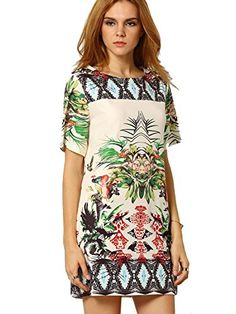 ROMWE Womens Floral Casual Mini Dress Multicoloured M *** To view further for this item, visit the image link.