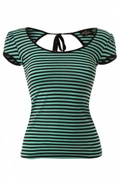 Steady Clothing - Mindy Top Striped Black Mint #topvintage