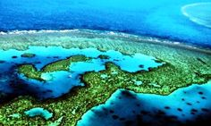 Aerial view of Australia's Great barrier Reef the world's largest