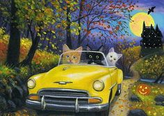 Cats Bridget Voth | Kittens cats car haunted house road moon Halloween original aceo ...