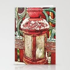 Red Lantern Stationery Cards by F Photography and Digital Art - $12.00