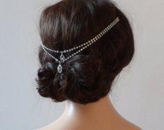 1920s wedding Headpiece - Bohemian, headchain style Bridal Accessory - Great Gatsby Headpiece - crystal bun accessory