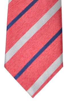 Brioni Tie Red Silver Navy Stripes
