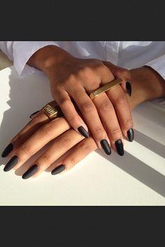 Black matte almond nails