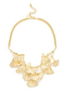 Kenneth Jay Lane: Gold Floral Bib Necklace....love a good ginko leaf http://www.gilt.com/sale/women/kenneth-jay-lane-1630/product/1049660001-kenneth-jay-lane-gold-floral-bib-necklace