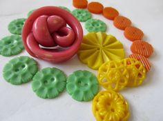 Vintage Buttons  Cottage chic mix of fun brights by pillowtalkswf, $7.95