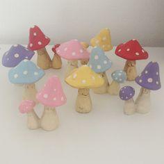 Pale blue little mushroom / toadstool ornament set   room to decorate   scandinavian and vintage designed homewares - online shop