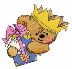 Teddy bear the king 2 machine embroidery design. Machine embroidery design. www.embroideres.com