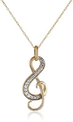 "10k Yellow Gold Diamond Music Note Pendant Necklace (1/10 cttw, I-J Color, I2-I3 Clarity), 18"" Amazon Curated Collection http://www.amazon.com/dp/B002JINK58/ref=cm_sw_r_pi_dp_akoIub0K4M2AF"