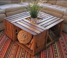Coffee Table - Made from 4 refurbished wine crates w/ locking wheels and center display storage on Etsy, $250.00