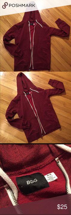 BDG wine color hoodie w/white drawstring & zipper Medium weight cotton poly machine washable hoodie BDG Tops Sweatshirts & Hoodies