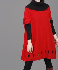 Red Heap collar long loose coat by MaLieb on Etsy, $79.00