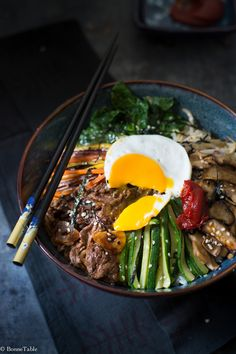 Bibimbap - A delicious Korean dish of rice, meat and vegetables!