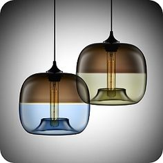 Incredibly beautiful fused-glass pendant lights by Jeremy Pyles (made in the US).
