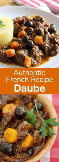 France: Daube Daube is a traditional comforting French stew from Provence made with beef that is marinated in red wine with herbs and spices. Traditional French Recipes, Classic French Dishes, Veal Recipes, Cooking Recipes, Kitchen Recipes, French Soup, Vegan Beef, Paleo, Canadian Food