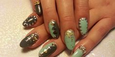 3D Junk Nails with Bling, Studs & Glitter Turquoise and Gold