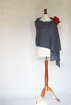 Blue shawl knit scarf knit shawl blue scarf by KnitwearFactory