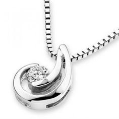 18K White Gold Crescent Moon Diamond Solitaire Pendant (1/20 cttw) (FREE 925 Silver Box Chain)