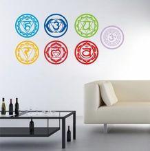 7 pcs/ensemble Chakras Vinyle Stickers Muraux Mandala Yoga Om Méditation Symbole Stickers Muraux décor à la maison décoration(China (Mainland))