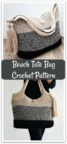 Gather your things and head for the beach with this crochet tote bag. Instant PDF download #ad #affiliate #crochet #pattern
