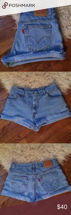 Levi's high waist Jean shorts cutoffs Size 12 •Excellent used condition •Worn a handful of times •High waist •These shorts were originally mid thigh length, which I then customized into more of a distressed, shorter look •Light wash denim •Brand: Levi's •Size: 12 •NO TRADES Levi's Shorts Jean Shorts