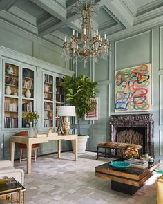 light blue walls, blue gray walls, molding, paneling, home office, coffered ceiling Veranda Magazine, Creation Deco, Top Interior Designers, Top Designers, Step Inside, Home Staging, Color Trends, House Colors, Home Office
