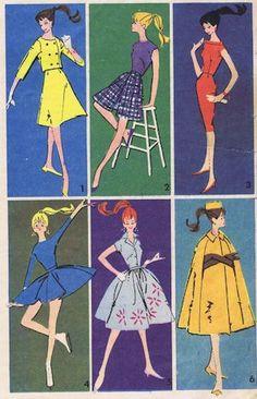 Vintage Barbie doll dress pattern artwork