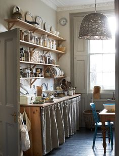 Open shelves, jars and oh that basket light!