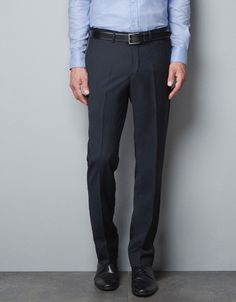 BLUE MICROSTRUCTURED TROUSERS - Suits - Man - New collection - ZARA United States