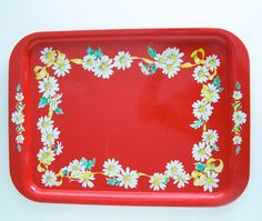 Vintage Red Daisies Serving Tray