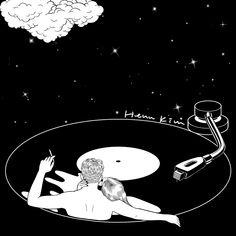 #hennkim #henn #art #illustration #drawing #sketch #black #white #pen #inspire #creative #pintable #gif #animation