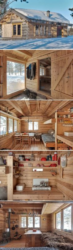 A 118 sq ft cabin in Norway. Great For Off The Grid Living Or An Affordable Housing Option. Great Use Of Space For 118 Sq Ft Tiny Cabins, Tiny House Cabin, Cabins And Cottages, Tiny House Living, Cabin Homes, Log Homes, Tiny Homes, Small Log Cabin, Modern Cabins
