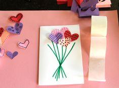 Crafting a heart bouquet card