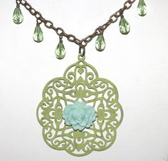 Antique Bronze Filigree Necklace by groovychickjewelry, $18.50