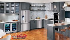 Grey kitchen designs warm and grey kitchen cabinets . Kitchen Cabinet Remodel, Wood Kitchen Cabinets, Kitchen Cabinet Design, Grey Cabinets, Kitchen Counters, Kitchen Laminate, Pantry Cabinets, White Countertops, Bathroom Cabinets