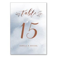 Dusty blue calligraphy rustic wedding table number - rustic gifts ideas customize personalize