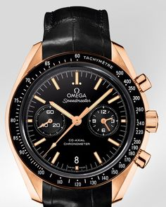 OMEGA Watches: Speedmaster Moonwatch Omega Co-Axial Chronograph - Orange gold on leather strap - 311.63.44.51.01.001