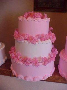 Cherish  Pink and White  Wedding Cake