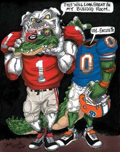 "UGA print featuring UGA Dawg entitled ""My Bulldog Room"" by Dave Helwig @ BetweenTheHedgesS... UGA DAWGS Georgia Bulldogs Football"